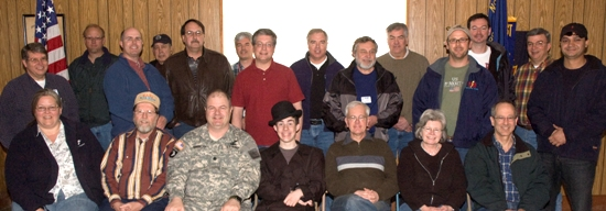 Group photograph of students and instructors during Loudoun Amateur Radio Group�s 28-29 March 2009 General Class Boot Camp, held at the Leesburg, VA. VFW Post. Sitting, L to R: Cheryl J, Beuning K0CJB, Karl Hamilton KI4BDS, LTC Jay R. Greeley KI4UTB, Brennen R. Ernst KI4PRK, Lloyd Harting KJ4BXA, Nancy Dluehosh KE4RTP, Scott Brody KJ4GXZ. Standing, L to R: Paul Dluehosh N4PD, Sean Epperson WL7HC, Richard Cody KB3MLA, John Elliott N3NFY, Greg Jablonski KJ4GZX, Doug Johnson KJ4BRN, Steve Reed KW4H, Don Swanson N3EVF, Henry Weidman K2BFY, Dennis Mirr KJ4BRZ, Grant Russell KB3EMT, Jim Dyal, Rick Miller AI1V, Jas Jamwal KG4YIQ