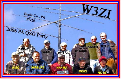 This is the W3ZI Multi-Multi Station operating crew. This photograph taken on site on Saturday morning before start of the Pennsylvania QSO Party. Photograph by Larry Hughes - K3HE of Leesburg, Virginia. This photograph marked up by Denny Boehler - KF4TJi who will print this as the QSL card for this operation.